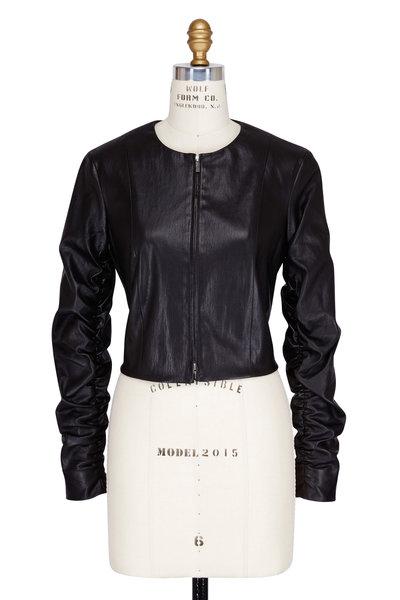 The Row - Razna Black Leather Ruched Sleeve Jacket