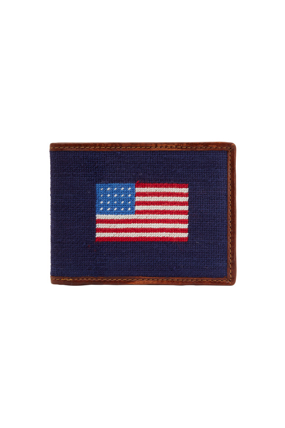 Smathers & Branson Navy Blue American Flag Needlepoint Wallet