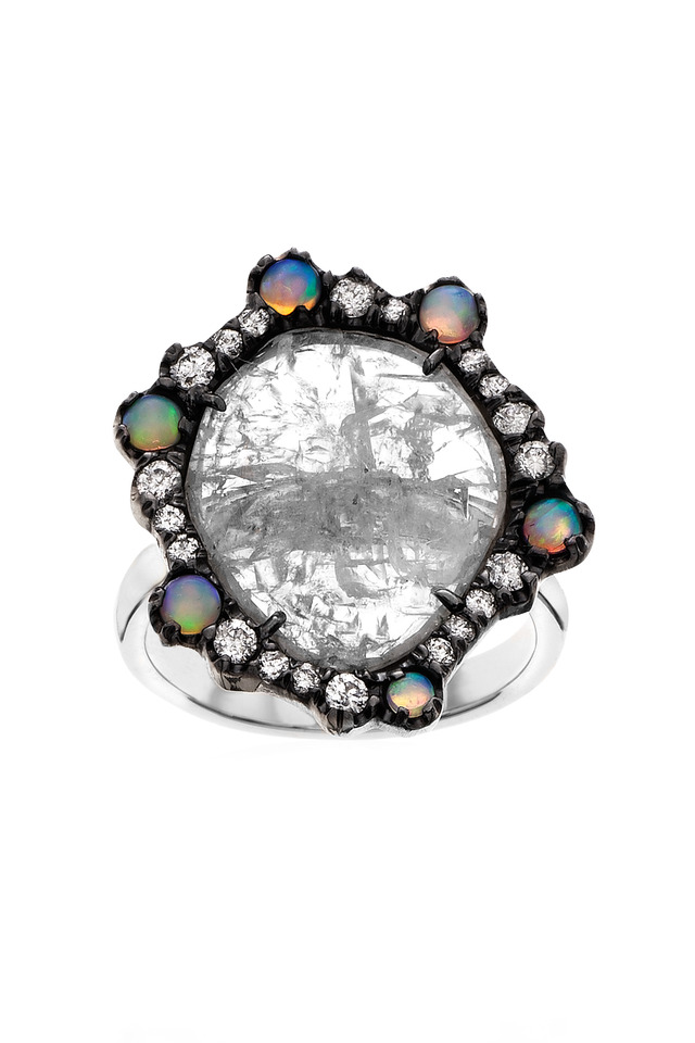White Gold & Diamonds & Crystal Opal Ring