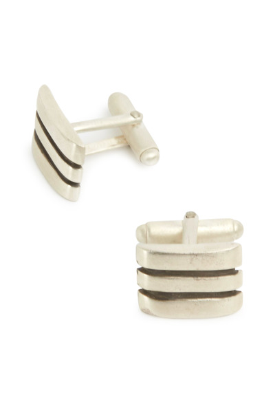 Catherine M. Zadeh - Sterling Silver Rectangle Two Line Cuff Links