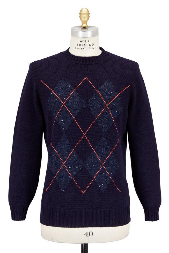 Brunello Cucinelli Navy Blue Argyle Wool & Cashmere Crewneck Sweater