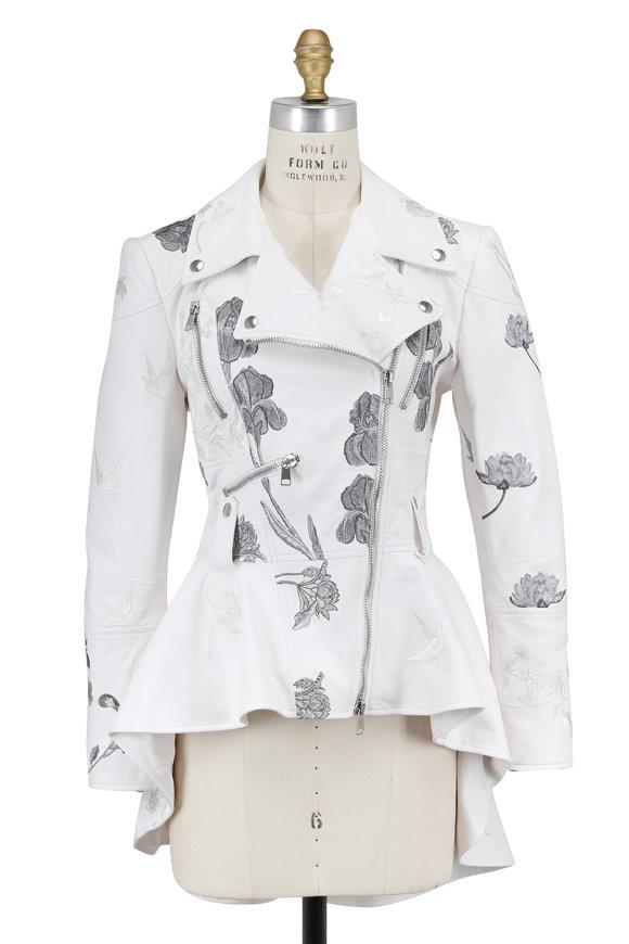 Alexander McQueen White Embroidered Leather Peplum Biker Jacket