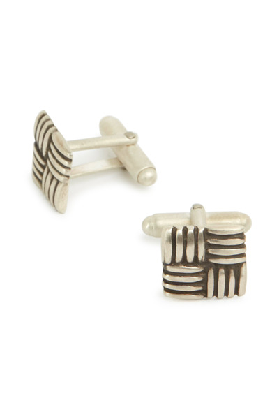 Catherine M. Zadeh - Sterling Silver Square Basket Weave Cuff Links