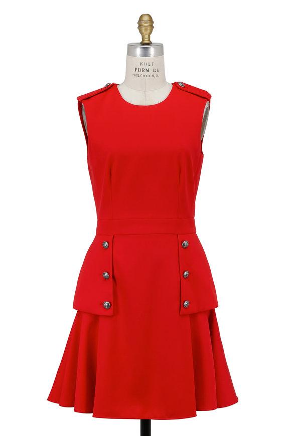 Alexander McQueen Lipstick Red Button Flap Detail Sleeveless Dress