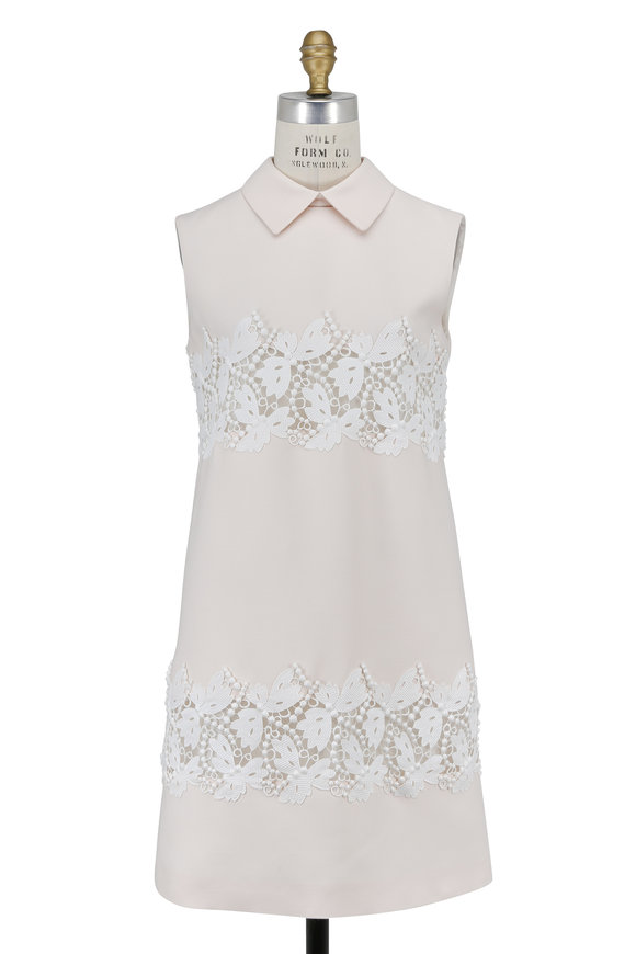 Valentino Pearl Crêpe Couture Collared Sleeveless Dress