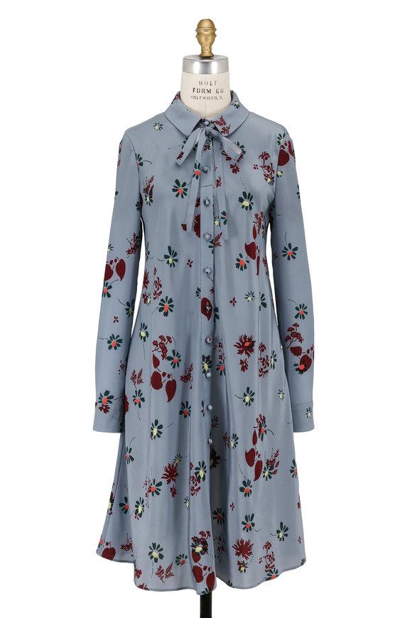 Valentino Blue Crêpe De Chine Floral Long Sleeve Dress
