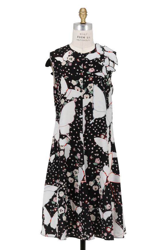 Valentino Black Crêpe De Chine Butterfly Sleeveless Dress