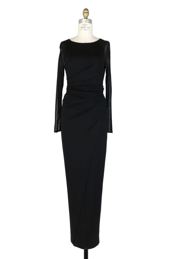 Talbot Runhof Novale Black Ruched Jersey Long Sleeve Gown