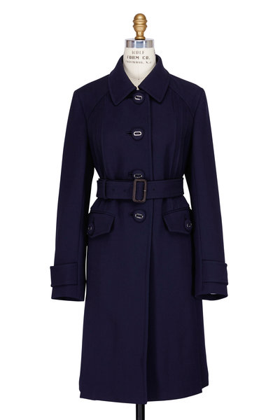 Prada - Navy Gold Button Belted Trench Coat