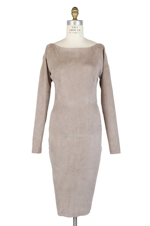 Jitrois Gray Stretch Suede Long Sleeve Sheath Dress