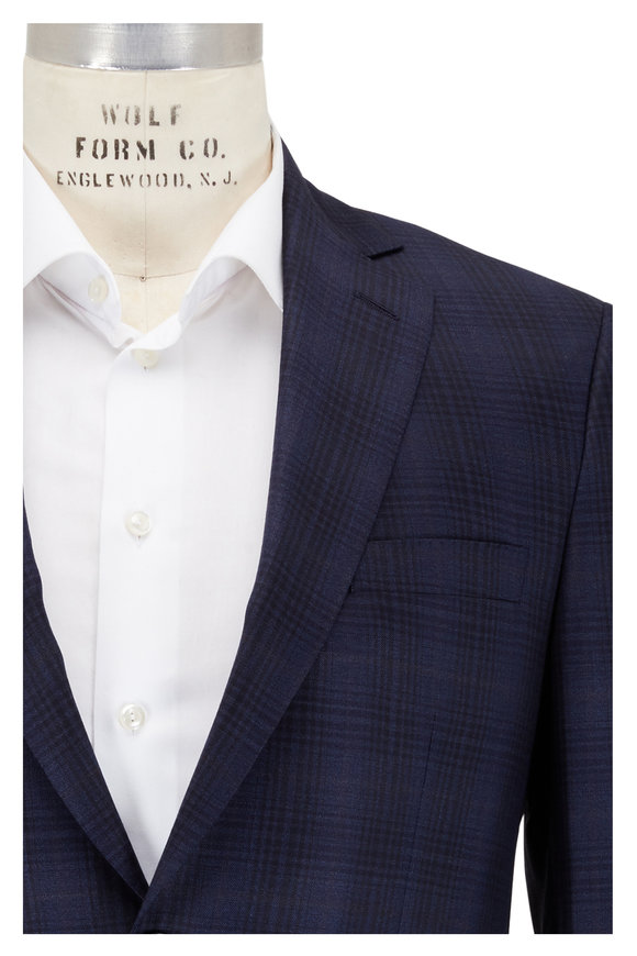 Coppley Navy Blue Plaid Wool Sportcoat