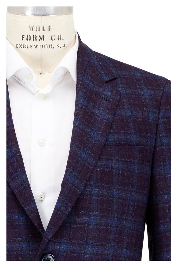Coppley Purple Plaid Wool Sportcoat