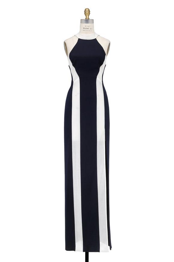 Galvan Midnight Blue & White Column Gown