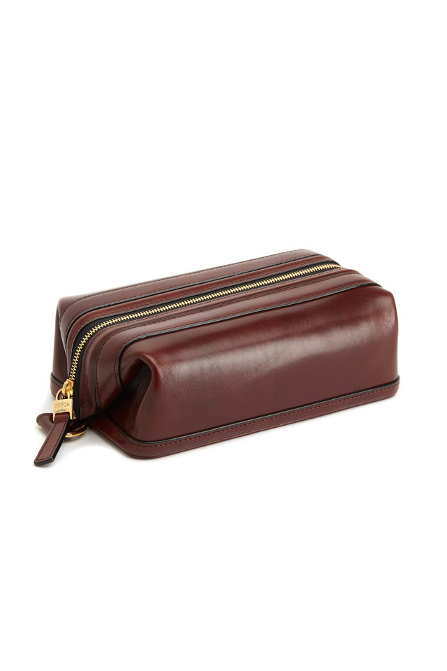 Dark Brown Leather Dopp Kit