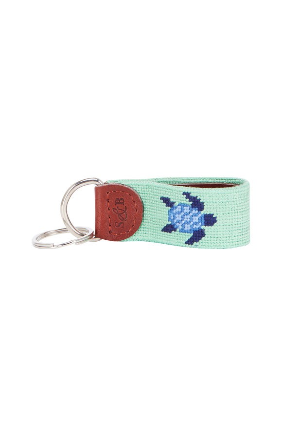 Smathers & Branson Green & Blue Turtle Needlepoint Key Fob