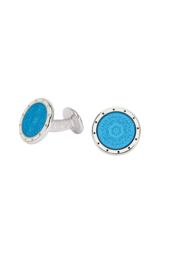 Baade II Blue Enamel Round Cuff Links