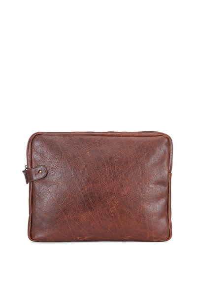 Moore & Giles - Dark Brown Titan Milled Leather Laptop Pocket