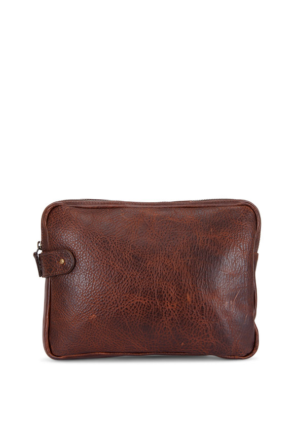 Moore & Giles Dark Brown Titan Milled Leather Tablet Pocket