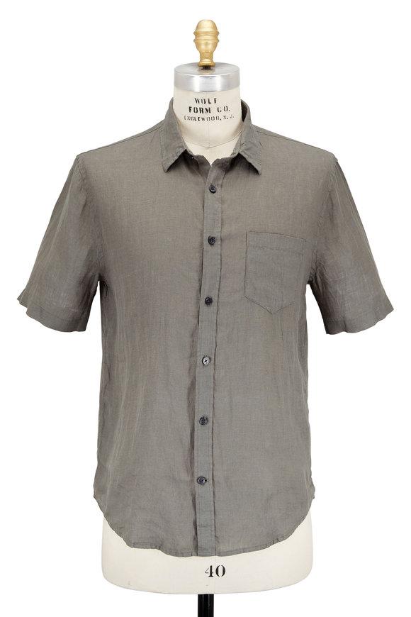 Vince Forest Green Linen Short Sleeve Sport Shirt