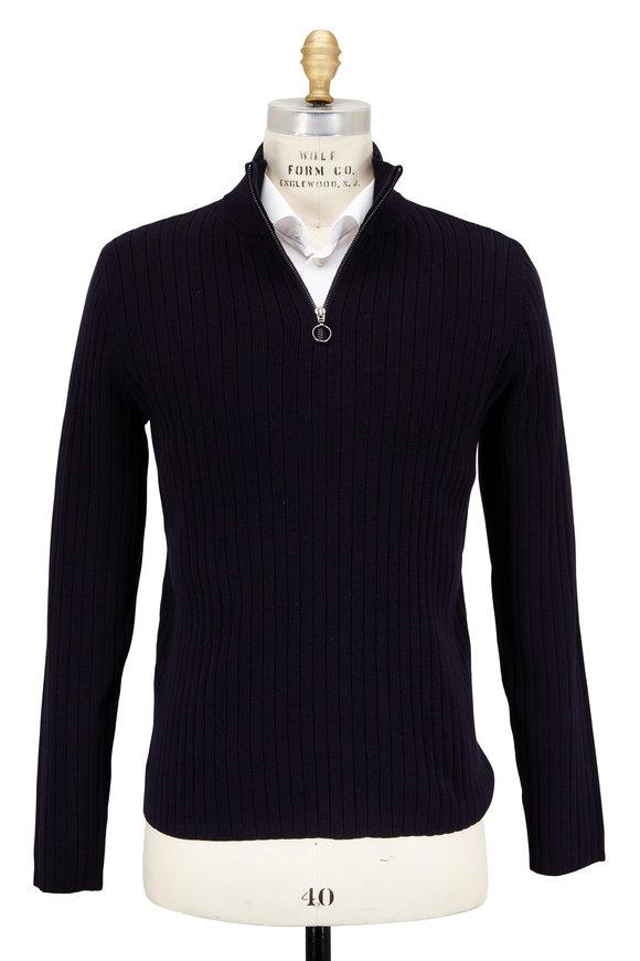 Vince Coastal Blue Quarter-Zip Sweater