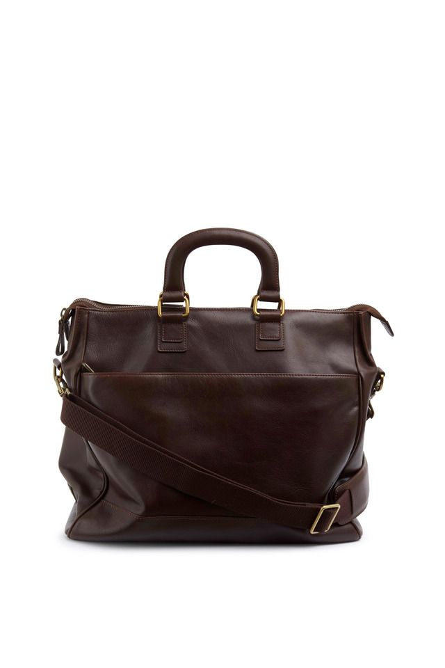 Brown Leather Carry-All Tote Bag