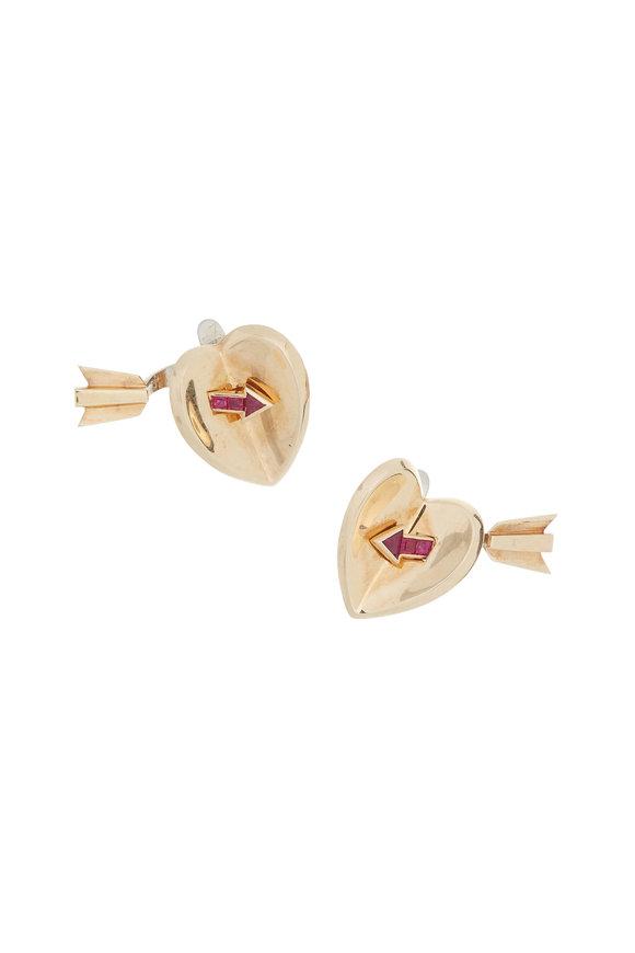 Fred Leighton 18K Yellow Gold Ruby Heart & Arrow Earrings