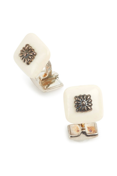 Hobbs & Kent - Sterling Silver Cream Finial Square Cuff Links