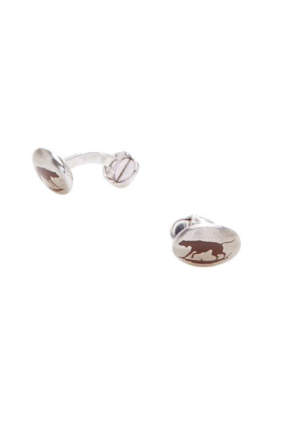 Hobbs & Kent Sterling Silver Brown Dog Cuff Links