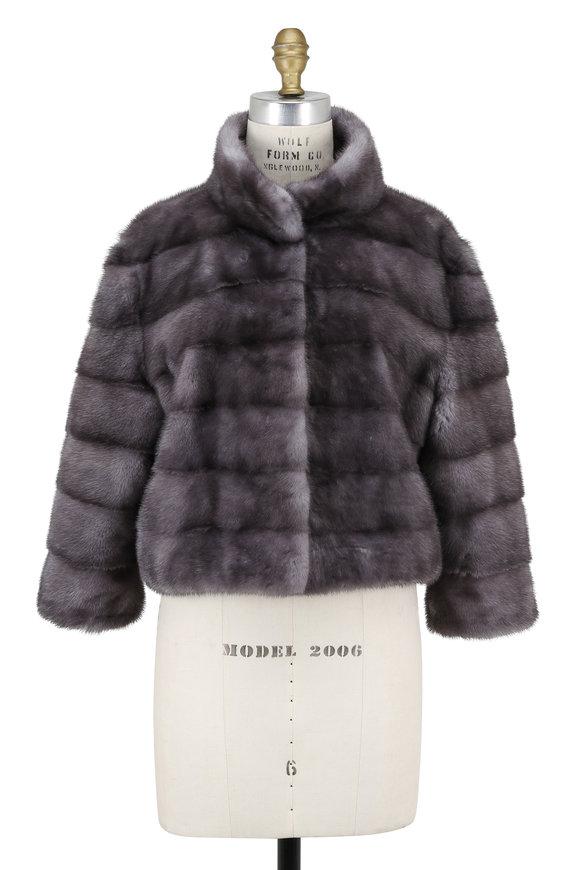 Oscar de la Renta Furs Blue Iris Mink Cropped Jacket