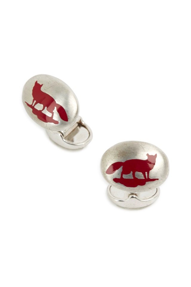 Sterling Silver Red Fox Cuff Links