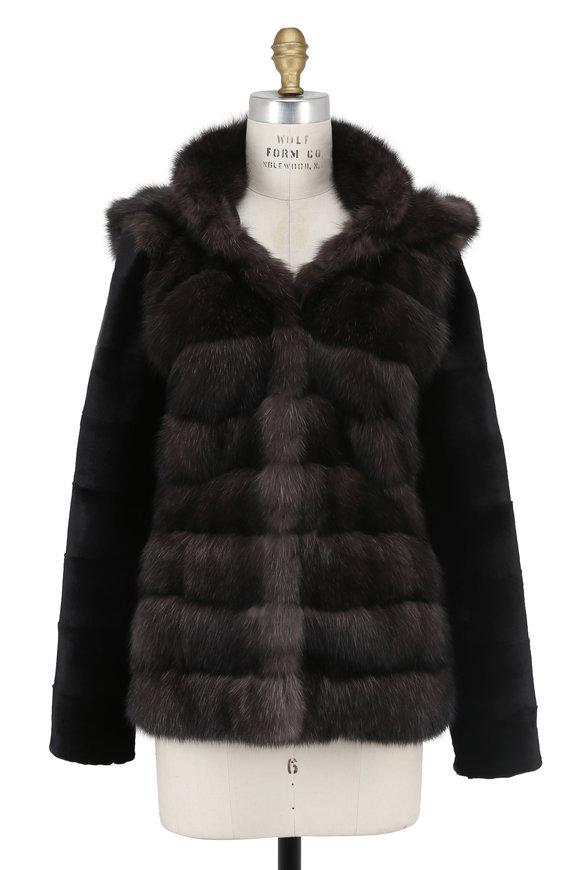 Oscar de la Renta Furs Natural Sable & Sheared Mink Sleeves Hooded Jacket