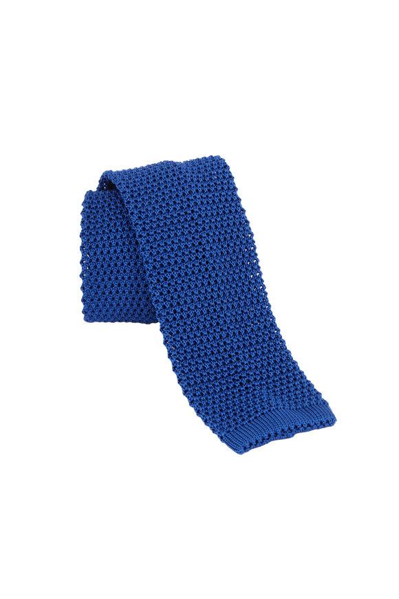 Charvet Blue Silk Knit Necktie