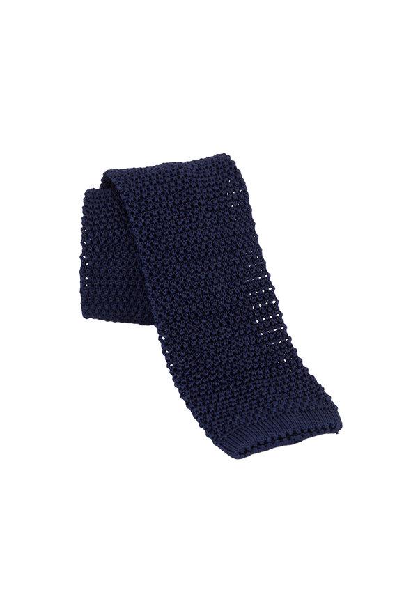 Charvet Navy Blue Silk Knit Necktie