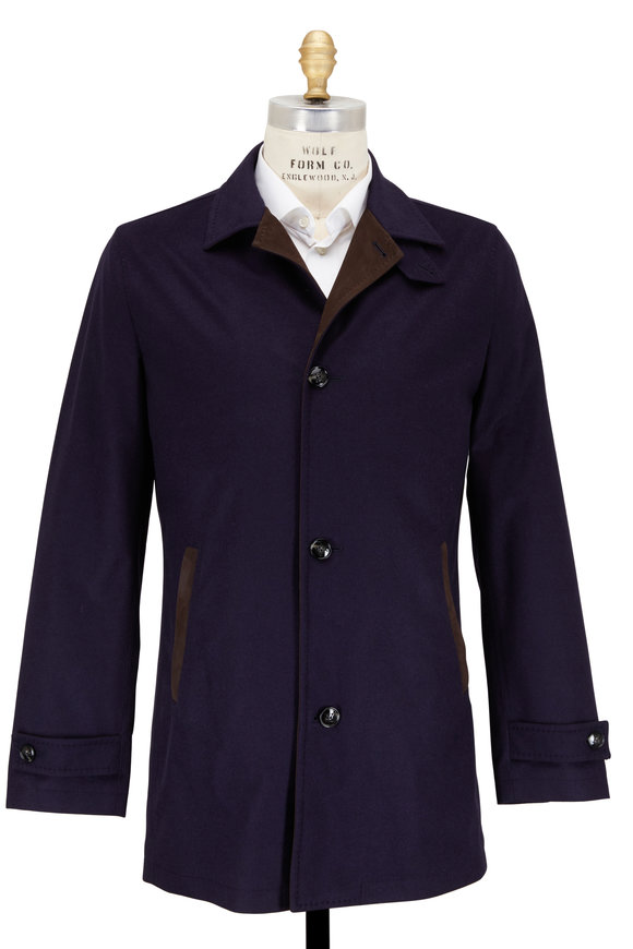 Kiton Navy Blue Silk & Cashmere Waterproof Coat