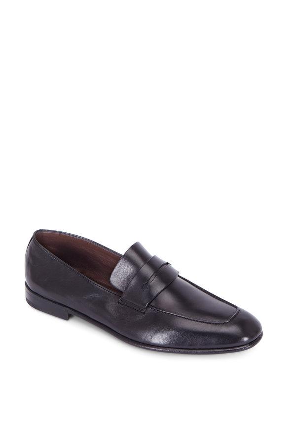 Ermenegildo Zegna Asola Black Leather Penny Loafer