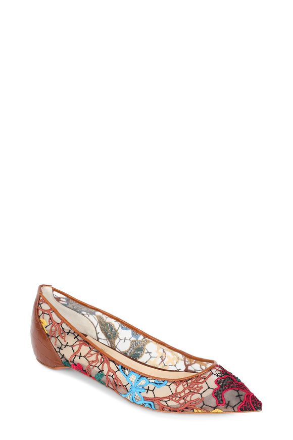 Christian Louboutin Follies Multicolor Lace Pointed Flat