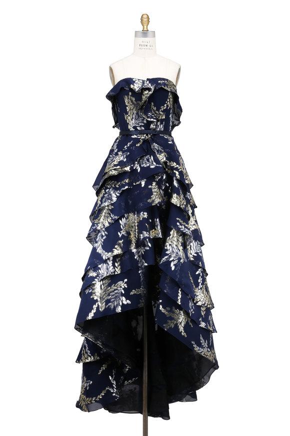 Oscar de la Renta Navy Blue Chiffon Strapless Ruffle Gown