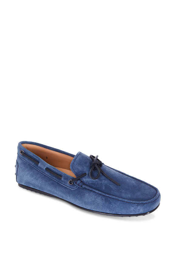 Tod's Laccetto City Gommino Blue Suede Tie Driver