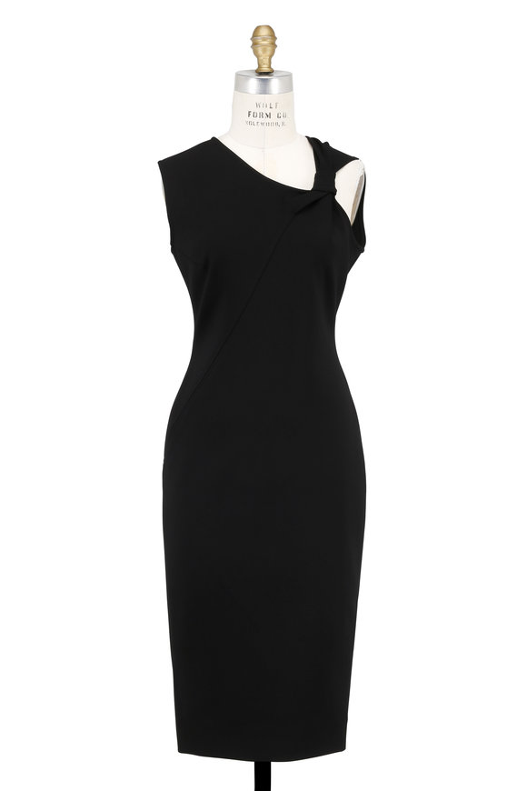 Victoria Beckham Black Jersey Knotted Shoulder Sleeveless Dress