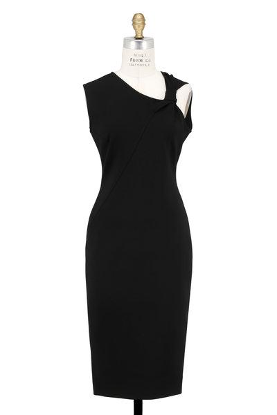 Victoria Beckham - Black Jersey Knotted Shoulder Sleeveless Dress