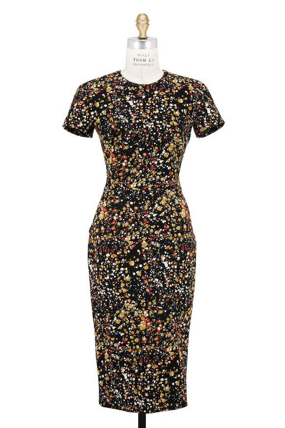 Victoria Beckham Black, Mustard & Orange Marble Jacquard Dress