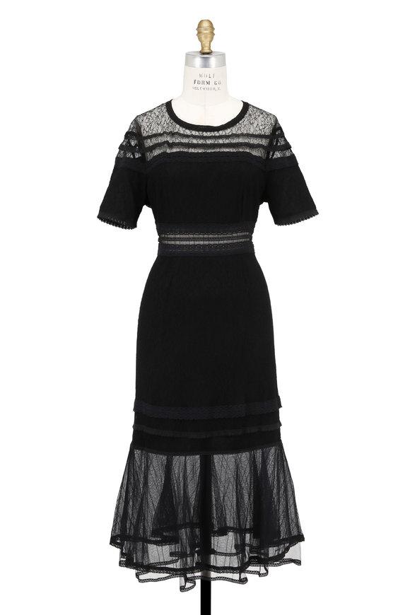 Jonathan Simkhai Black Lace Sheer Inset Detail Short Sleeve Dress