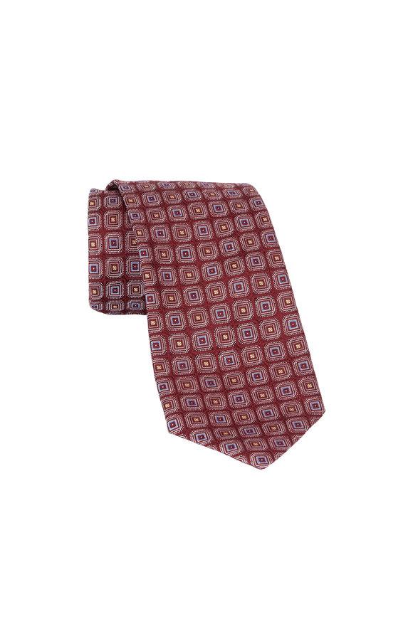 Eton Burgundy Square Print Silk Necktie