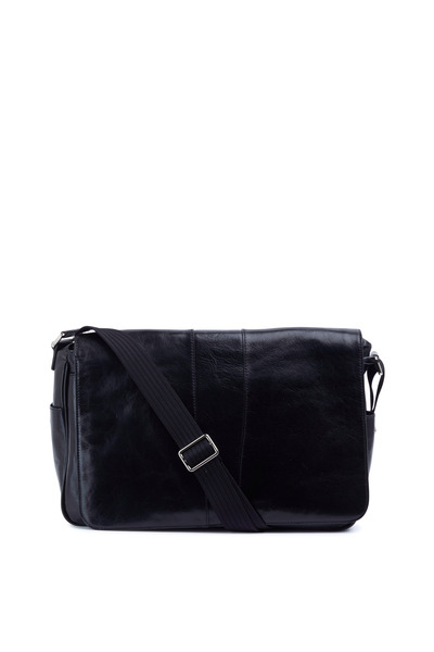 Bosca - Black Leather Messenger Bag