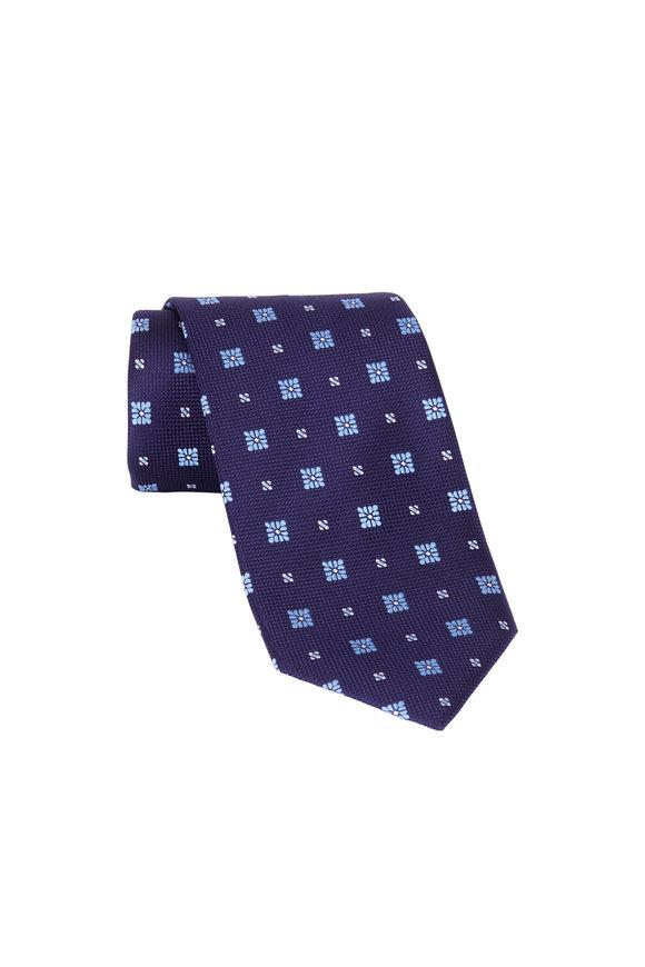 Eton Navy Blue Floral Print Silk Necktie