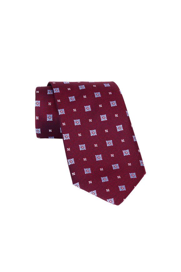 Eton Burgundy Floral Print Silk Necktie
