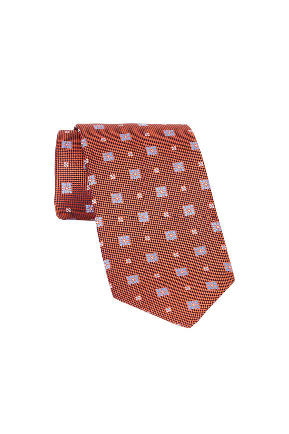 Eton Orange Floral Print Silk Necktie