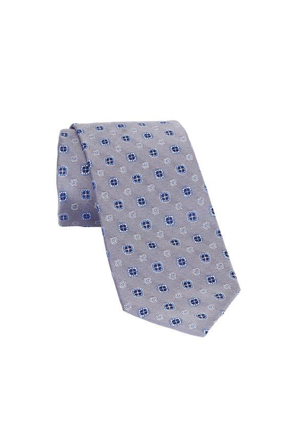Eton Silver Circle Print Silk Necktie