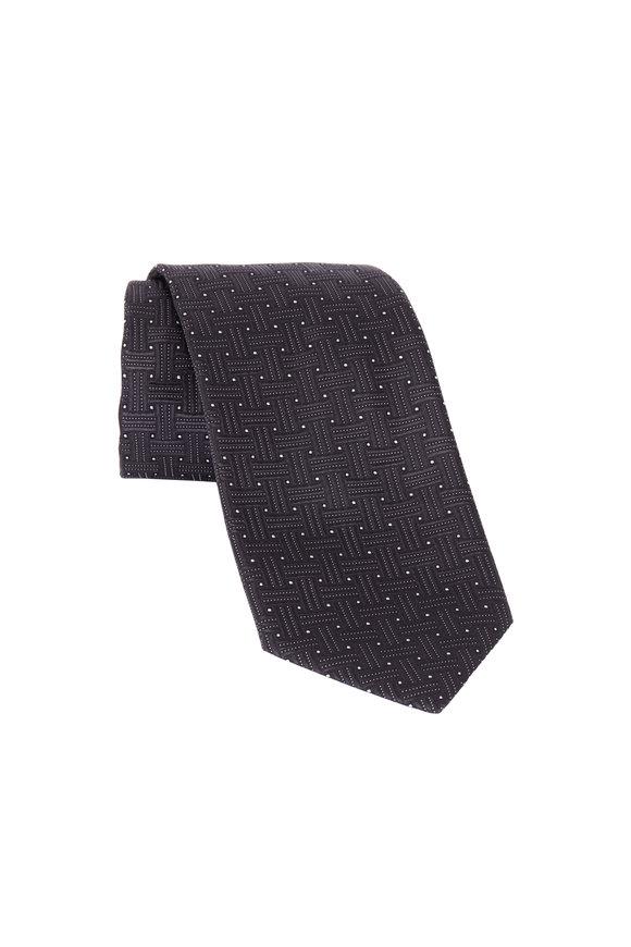 Eton Gray Big Weave Silk Necktie