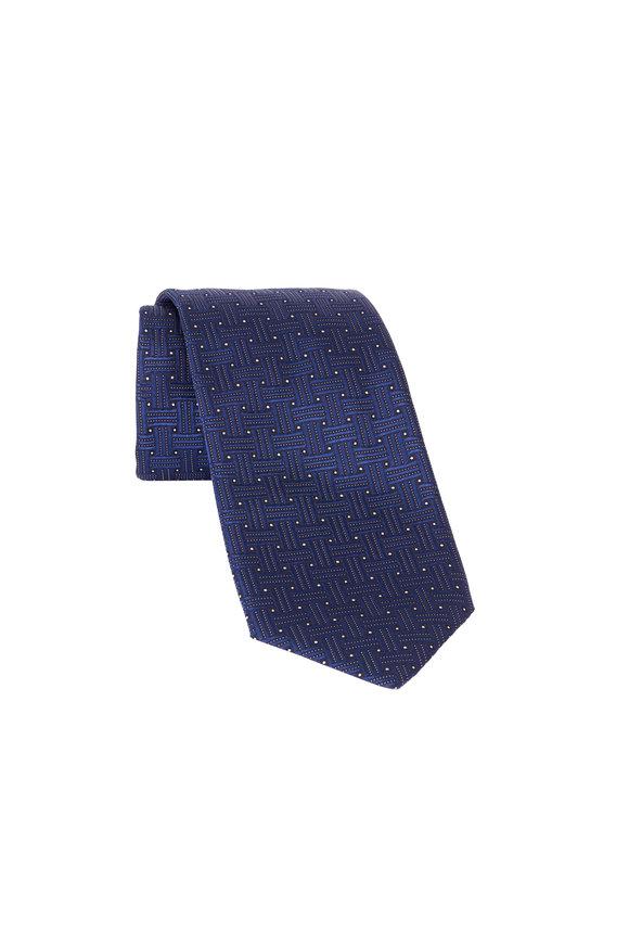 Eton Navy Big Weave Silk Necktie